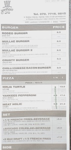 Yankee's Burger menu